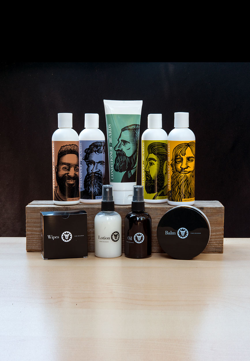 beardsley allspice shampoo, wild berry shampoo, beard conditioner, verbena lime shampoo, cantaloupe shampoo, beard wipes, lotion, oil, and balm