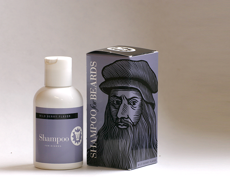 Beardsley Wild Berry flavor beard shampoo, featuring bearded notable Leonardo da Vinci, 4 ounce bottle