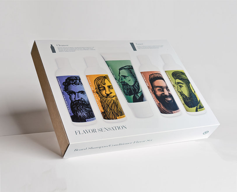 Beardsley beard shampoo and conditioner flavor set, includes wild berry, cantaloupe, allspice, and lime verbena shampoo, and beard conditioner
